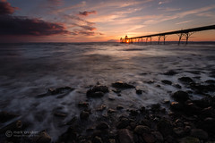 Starburst pier (images through a lens) Tags: ocean uk sunset england beach europe unitedkingdom britain somerset clevedon severnestuary