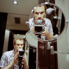 Self portrait with mirrors (Seriously People) Tags: newzealand 120 film me mediumformat kodak mirrors hasselblad analogue trifecta ektar 503cx 60mmcf jonobissex