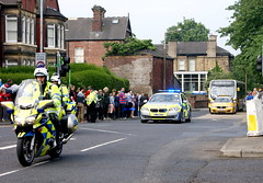 Olympic Torch Relay 1 (Kerry711) Tags: bus car bike yellow lens coach sony south yorkshire police torch olympic alpha visitors 1870mm rotherham a390