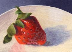 Summer Sweetness (DShirleyArt) Tags: stilllife art artisttradingcard fruit painting strawberry acrylic aceo tc artcard kitchenart vastteam acetsyteam indiejteam fodart hmet
