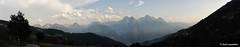 Cartolina dalla Valle d'Aosta (itzel1984) Tags: panorama silhouette montagne strada tramonto nuvole natura alpi spettacolo valledaosta foschia emilius nikond700