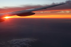 Sunset (Teruhide Tomori) Tags: sunset sky japan clouds airplane air wing boeing 777 jetplane