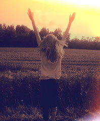 Freedom (prettylittlelife7) Tags: pink blue sunset red summer bw sun flower color colour green nature girl grass sunshine rain finland happy jumping sad north sunny nordic sumer ummer ssummer