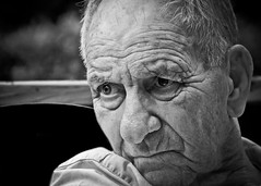 prudent (megscapturedtreasures) Tags: old portrait bw man male lines fine elderly stare awareness wrinkles harsh prudent observing thechallengefactory