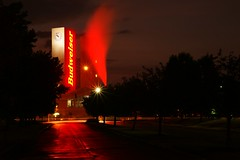 Cool One (joeandersun) Tags: street trees columbus red beer night digital dark sony steam fullframe dslr budweiser 287528 a850 alphamount sonya850 sal2875