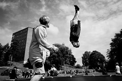 Upside Down.. (Peter Levi) Tags: street city blackandwhite bw blancoynegro kids jumping sweden stockholm streetphotography documentary acrobatics 1740mm blackwhitephotos 5dmkii