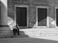 Man Resting Outside the Blue Mosque (717Images) Tags: blue man turkey religious sadness solitude alone loneliness muslim islam religion istanbul mosque turkish contemplation weloveistanbul