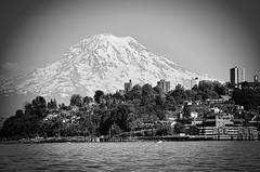 Mountain is Watching [Explore] (tacoma290) Tags: blackandwhite bw mountain water buildings nikon hill mountrainier pacificnorthwest pugetsound tacoma pnw commencementbay silvercloudhotel jackhydepark oldtowndock mountainiswatching explore30jul12