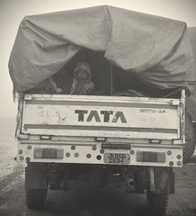 Truck Ride (adzscott) Tags: blackandwhite india children streetphotography