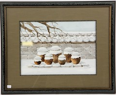 40. Asian Watercolor of Vessels in Winter