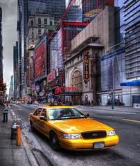 Follow that (Phillstah) Tags: road new york city nyc travel light urban usa signs ny motion blur building tourism car yellow architecture modern speed america advertising square us colorful call downtown day traffic manhattan cab united transport broadway center scene tourists follow architectural business architect entertainment busy american rush transportation times hdr attraction finance streettaxi