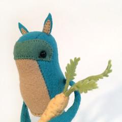 (MelissaSueArt) Tags: designertoy plush arttoy designerplush handmade embroidery wool stitched stuffed felt carrot spirit monster creature teal kawaii
