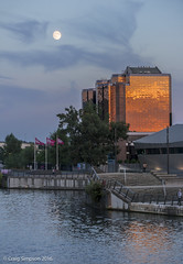 Mirrored Building, Salford Quays. 16th August 2016. (craigdouglassimpson) Tags: reflections nightscenes moon water buildings manchestershipcanal salfordquays greatermanchester england