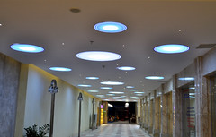 UFO ceiling (Roving I) Tags: ceilings lighting discs ufos underpasses lamps marble columns shops retail holidaybeach hotels decor design danang tourism travel vietnam