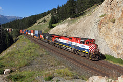 BC Rail color at English (Moffat Road) Tags: britishcolumbiarailway bcr canadiannational cn intermodal doublestack no102 102 4644 ge c449wl cnedsonsub english alberta canada ab bcrail