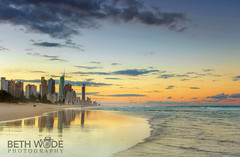 Gold in the Sand - Explored 18/08/16 (Beth Wode Photography) Tags: sunset dusk twilight beach reflections surfersparadise clouds waves beth wode bethwode seascape