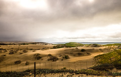 Dunes (janet.capling) Tags: landscape california dunes rain mist grass fence sand water beach lake clouds shadow osoflacolake