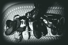 Just TOO Many (Jules (Instagram = @photo_vamp)) Tags: shoes blackwhite photochallenge rug memories