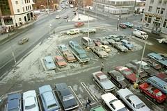 Dundas Square, Toronto, 1983 (Avard Woolaver) Tags: torontoflashback19801986 konicat4 ektacolorfilm dundassquare toronto parkinglot 1983