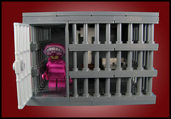Ches learns the error of his way (Karf Oohlu) Tags: lego moc vignette cheshirecat jail jailcell prison dontdodrugs dothecrimepaythetime cell cellbed celltoilet