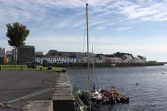 Quayside, Claddagh (mcginley2012) Tags: boats claddagh quay galway ireland water tree swan cygnet thelongwalk river pier ropes street cars ringbuoy iws flag
