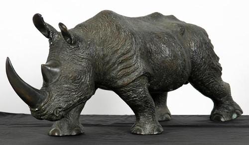 "Bronze Rhino Sculpture (36"" Long) ($448.00)"