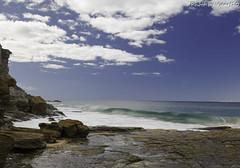 Garie Beach Wave (vscarf10) Tags: canon 5dmkiii 5d mkiii dslr eos 24105mm garie beach sand water flow channel bank clouds waves sky blue rocks coastline