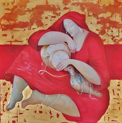 Olga Minardo: Die Uhrzeitlose (zikade) Tags: olgaminardo gemaltvonolgaminardo bild gemlde werke painting quadri quadro rot frau fraumituhren dieuhrzeitlose