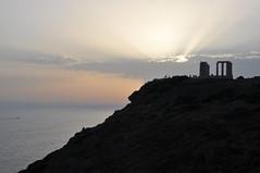 - The temple of Poseidon, Sounion (2) (st.delis) Tags: temple sea sunset sky clouds hill attica hellas