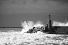 Recco (Umberto Fistarol) Tags: sea blackandwhite bw lighthouse water mare waves genoa biancoenero recco mareggiata tideswave