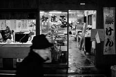 After hours (k.nowak) Tags: street bw fish man japan shop night japanese evening blackwhite fresh cleaning elderly  fukuoka fishmonger       japonia