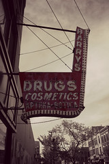 Barry's Drugs (Flint Foto Factory) Tags: old city red urban bw white wickerpark chicago black color classic sign sepia bulb vintage illinois spring long neon milwaukee drugs storefront era april faux ago cosmetics damen 2012 selective bucktown paulina apteka wolcott barrys westtown botica cutrate bygone colorizaion