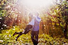 Love is... (hobopeeba) Tags: light roses summer sun love water girl spring couple feathers story appletrees canon50mm12 hobopeeba