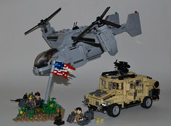 "U.S. ""Grand Faction"" (Group Shot) ([Renegade]) Tags: us shot lego flag united group grand special equipment american soldiers operations states humvee productions spec osprey agents ops renegade tiltrotor purge faction brickjet"