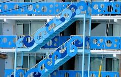 Blue Balcony (chantsign) Tags: blue windows closeup balcony motel oceancity