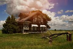 (emmakatka) Tags: blue summer sky orange house abandoned minnesota day cloudy leak derelict abandonment