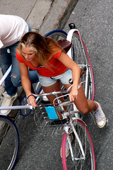 From Above (josephzohn | flickr) Tags: girls people bike fromabove jeans denim shorts cykel rtt tjejer mnniskor jeansshorts bikeid uppifrn brahegatan