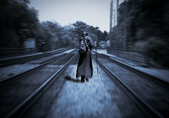 The Drifter (Hans Maso) Tags: man train canon tracks 5d 135mm ef135mmf20l canoneos5dmarkiii