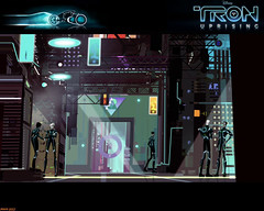 Tron Uprising #72 (Phaota2) Tags: street city wallpaper people signs building buildings computer alley neon arch graphic display scene disney walkway displays archway tron legacy uprising cgi imagery