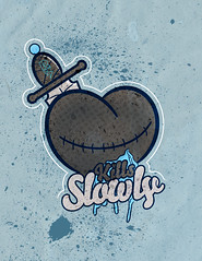 LOVE KILLS SLOWLY (sinkorswimdetroit.com) Tags: streetart stickerart graffitiart characterdesign artprints graffitistickers graffiticharacter detroitarts detroitgraphicdesigner rickyruff rickyruffdetroit