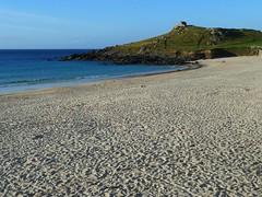 Porthmeor beach and the Island (Richard and Gill) Tags: sea beach island coast sand cornwall stives cornish porthmeor kernow penwith