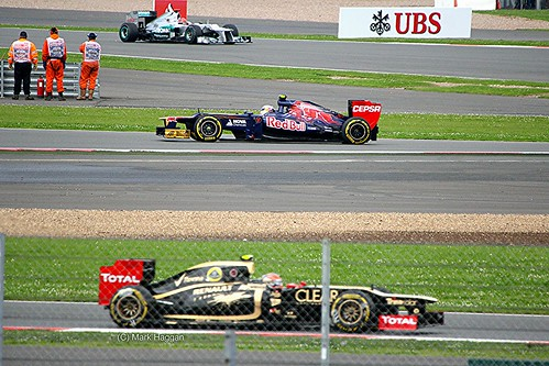 Michael Schumacher, Jean-Eric Vergne and Romain Grosjean at Silverstone