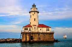 Chicago Harbor Lighthouse on Lake Michigan - Chicago IL (mbell1975) Tags: light sea usa lighthouse house lake chicago tower water sailboat lago harbor us illinois day unitedstates cloudy michigan lakemichigan il american turm