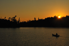 Canoeing at Sunset in the Boundary Waters (allisonherreid) Tags: trees sunset summer sky orange lake man black reflection tree nature water beautiful minnesota silhouette yellow horizontal pine forest sunrise woodland landscape outside outdoors dawn boat woods scenery solitude alone outdoor dusk shoreline scenic paddle calm canoe pines shore remote wilderness canoeing paddling canoeist tranquil bwca bwcaw boundarywaterscanoearea thechallengegame