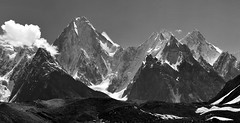 Gasherbrum IV (7925 m) and Gasherbrum II (8035 m) from Baltoro Glacier (Oleg Bartunov) Tags:
