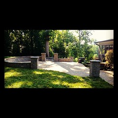 Hardscape, landscape, water feature (Acadia Landscape and Hardscape) Tags: columns seatwall belgard