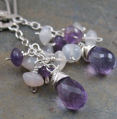 Amethyst and Moonstone Cluster Drops (AshleighAnnette) Tags: white silver wire purple cluster wrapped glowing sterling earrings amethyst backs dangle lever briolettes