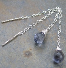 Iolite Sterling Chain Threads (AshleighAnnette) Tags: blue light water long fine pale chain earrings thin threads sapphire iolite threader briolette