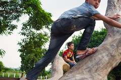 Dhaks, 2016. (rahat_kabeer) Tags: child play tree noon triangle sunkissing sun green blue dhaka bangladesh canon eos canon6d 50mm 2016 buddhijibi