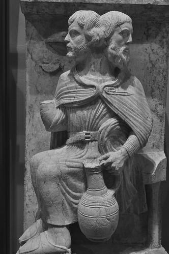 """""""Janvier"""", ancien portail des mois (XIIIe), Musée épiscopal, via San Romano, Ferrare, Emilie-Romagne, Italie."""